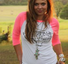 lonestar lounge neon pink raglan - pistol annie's collection