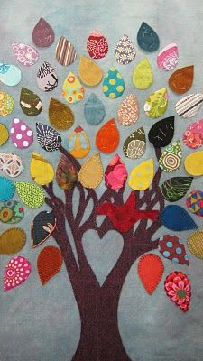 Tree Quilt Picture. You could stitch relatives' names on the leaves to make a family tree.