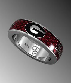 best website 1d091 02a34 Red enameling, set on sterling silver - a fine piece of UGA game day  jewelry and stackable with other UGA rings from Collegiate Jewel.