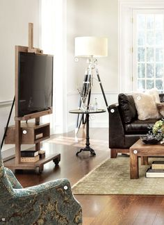 Using an antique easel or an industrial metal easel – looks good for large flat screen TVs instead of over the fireplace.