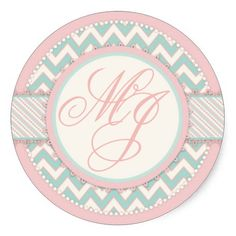 Shabby Chic Pink and Aqua Chevron Print Monogram Stickers