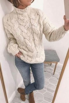 Col roulé motif de couverture tricot pull Knit Sweater Outfit, Oversized Sweater Outfit, Pullover Outfit, Sweater Coats, Cable Knit Sweaters, Women's Sweaters, Knit Cardigan, Casual Sweaters, Winter Sweaters