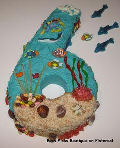Ocean, Sea Creatures, Seashells, Fishbowl, Under the Sea, Number 6 Birthday Cake