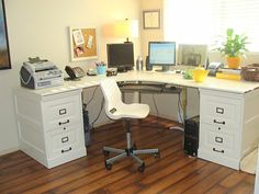 Inspiring Office Decoration With Filing Cabinets IKEA: exciting home office design with filing cabinets ikea and corner desk also swivel desk chair Diy Computer Desk, Diy Desk, Ikea Desk, Computer Build, Craft Desk, Craft Space, Craft Rooms, Gaming Computer, Home Office Desks