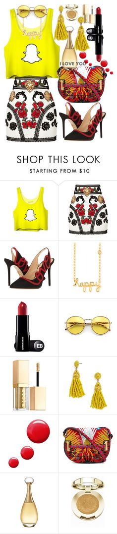 """Snap Chat T-shirt 1"" by silviaracchi ❤ liked on Polyvore featuring Dolce&Gabbana, Charlotte Olympia, Sydney Evan, Wildfox, Stila, BaubleBar, Topshop, Valentino, Christian Dior and Milani"