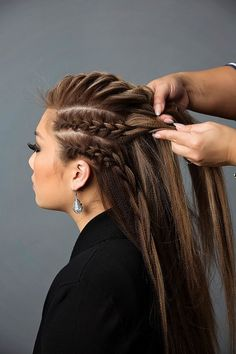 Add the French braids on the sides to the French braid on top and combine the braids #frenchbraid