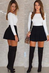 Chic Fall Outfit Ideas You Need This Fall « ellee. Girly Outfits, Sexy Outfits, Stylish Outfits, Sexy Dresses, Cute Outfits, Fashion Outfits, Black Skirt Outfits, Look Fashion, Cute Fashion
