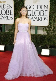 Olivia Wilde lavender, empire waist Reem Acra gown at the 66th Annual Golden Globes in 2009.