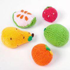 Knit Fruit Rattles Set