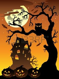 Scene with Halloween mansion illustration. Stock Photo - 9933171