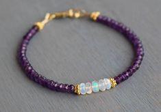 Beaded Amethyst Bracelet February Birthstone Bracelet Opal Bracelet Elegant Modern Gemstone Bracelet Boho Amethyst Bracelet Gift For Her by TamDavisDesigns on Etsy