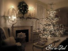 Shabby Chic Christmas in the fireplace. love the Charlie Brown Christmas tree.