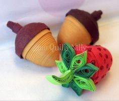 3D Miniatures, Paper Quilled Acorns and Strawberry by quillynilly, via Flickr