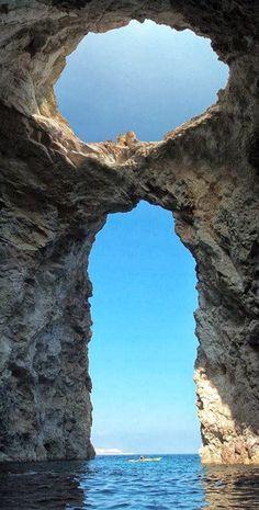 Macry Cave, east of Milos, Greece: