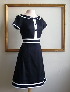 MOD dresses black and white color block custom made - KATE style. $159.00, via Etsy.