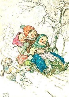 Marie Kvechova-Fischerova (1952) Vintage Greeting Cards, Vintage Christmas Cards, Xmas Cards, Christmas Art, Vintage Postcards, Christmas Decorations, Winter Images, Vintage Children, Landscape Paintings