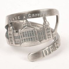 Des Moines, Iowa - state capitol Silver spoon ring found on Etsy