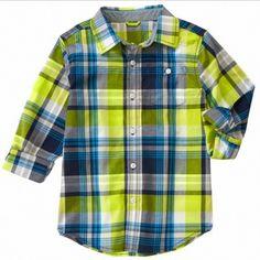 Camisa Gymboree Bright Lime a cuadros manga larga
