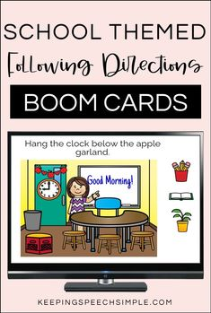 Target spatial concepts and basic school themed vocabulary while using this interactive and digital resource. This deck of Boom Cards has students practicing simple one step directions within a meaningful school context. This speech therapy activity can be used with your preschool, kindergarten and early elementary students. These hands on activities are also appropriate for special education. Use as a back to school activity or all year long. Use during teletherapy or distance learning.