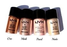 Nyx Loose Pearl Eyeshadows in Oro, Mink, Pearl, and Nude