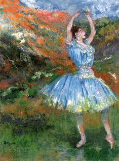 dappledwithshadow:  Blue Dancer, at the BalletEdgar Degas 1891 Private collection	Painting - oil on canvas Height: 33 cm (12.99 in.), Width: 25.4 cm (10 in.)