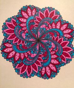 Not into pink at all, but I like this, it's different! Mandala Painting, Dot Painting, Mandala Art, Stone Painting, Adult Coloring, Coloring Books, Mandala Meditation, Cool Doodles, Celtic Patterns