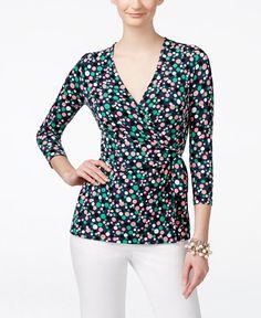 Anne Klein Dot-Print Side-Tie Surplice Top