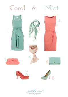 Really wanting to do coral and mint. Scout's bridesmaids and my bridesmaids could alternate the colors like this! (like, all my bridesmaids: mint dresses, coral accessories. Hers: coral dresses, mint accessories. Or vice versa.) @adrienne Goemaere