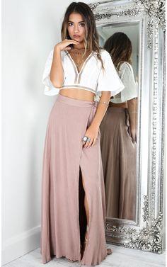 Mocha Wrap Around High Slit Maxi Skirt