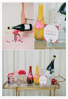 "for day-of getting ready with the bridesmaids: Do a ""bubbly bar"" w/ mixers and raspberries"