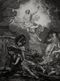 Christ's earthly ministry in the Phillip Medhurst Bible 494 of 550 The Resurrection Matthew 28:2-4 Coypel on Flickr. A print from the Phillip Medhurst Collection at St. George's Court, Kidderminster.
