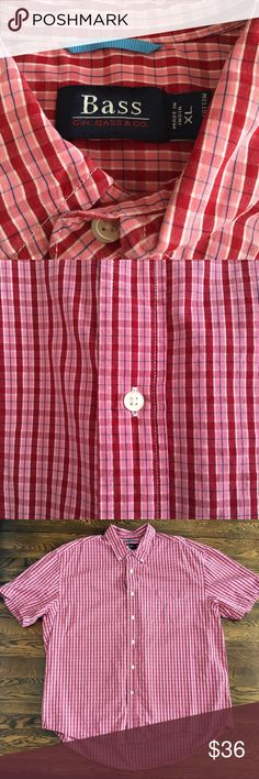 🎉JUST IN🎉 NWOT Red & pink plaid checkered shirt NWOT Red & pink plaid checkered short sleeve dress shirt with blue & white thin lines. Men's XL fits like a women's plus size 18/20 from Bass. 100% cotton. Measurements available upon request. 🚫No holds 🚫No Lowball Offers 🚫No Trades ✅Please submit reasonable offers via the offer button or 🎁 bundle & save! Bass Shirts Casual Button Down Shirts
