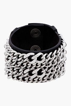 Balmain Black Leather Layered Chain Bracelet for men | SSENSE