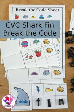 Free Shark Fin CVC Words Break the Code - it works on -an, -en, -in and -un words with decode the word and find the matching picture - 3Dinosaurs.com #freeprintable #learningtoread #kindergarten #firstgrade #cvc #cvcwordfamily #3dinosaurs Phonics For Kids, Learning Phonics, Preschool Learning Activities, Reading Activities, Shark Activities, Word Family Activities, Cvc Word Families