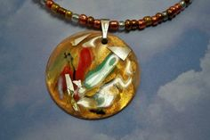 Copper Enamel Pendant Metallic by fyfchicenergy on Etsy, $22.00