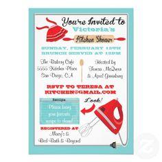 vintage kitchen bridal shower | Retro Kitchen Bridal Shower Invitations from Zazzle.com