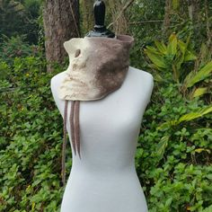 Unique Felted Wool Collar with Dreadlock Ties by Twigsimmortalized