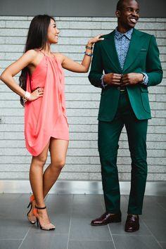 ottawa fashion, stylish couple, fashion couple, black and asian couple, monochrome outfits, all green suit, zara heels, orange dress