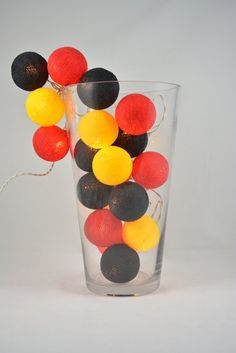 20 Lights   Black  Red Yellow  3 Color Cotton Ball by YooCotton