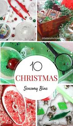 Christmas Sensory Bins for Kids. Fun and easy Christmas activities and sensory play ideas for holiday learning.