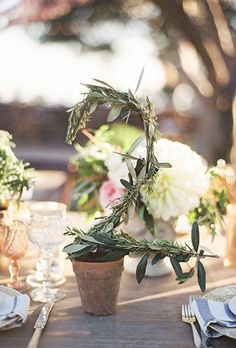 A foilage table number | Brides.com