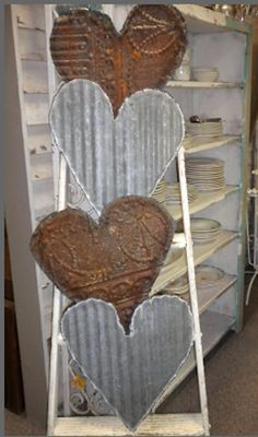 Salvaged Tin Ceiling Tiles - Vintage Valentines - via Second Shout Out