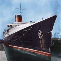 ss Normandie in drydock, outfitting