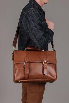The British Belt Company Antique Cruz Leather Briefcase