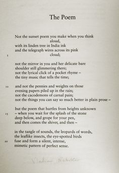 """The Poem by Vladimir Nabokov. """"in the tangle of sounds, the leopards of words"""""""