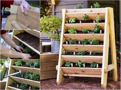 Vertical garden planters are a perfect solution if you are limited by space. Check out the tutorial here for how to make your own vertical garden planters. Plantador Vertical, Jardim Vertical Diy, Vertical Pallet Garden, Herb Garden Pallet, Vertical Planter, Herb Planters, Vertical Gardens, Planter Garden, Wood Planters