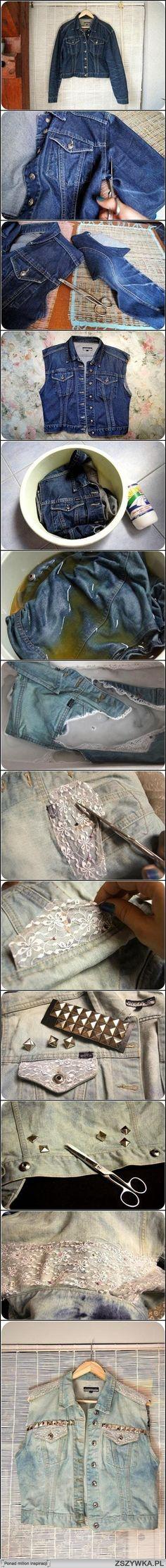 Zobacz zdjęcie Pomysł na starą jeansową kurtkę w pełnej rozdzielczości