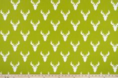 Antlers Chartreuse Fabric By Premier Prints Deer Fabric, Premier Prints, Woodland Theme, All Holidays, Antlers, Playroom, Make It Simple, Cotton Fabric, Property Brothers