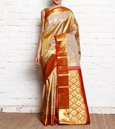 Beige #Kanjivaram Pure Silk #Saree With Zari Work #Indianroots #flipkart