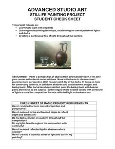 advanced studio art still life student check sheet Middle School Art, Art School, Painting Lessons, Art Lessons, Art Critique, Art Handouts, High School Art Projects, 8th Grade Art, Teen Art